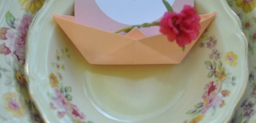place setting,vintage,coral,place card,china,Mint,Escort Card,backyard,retro,Fall,Spring,Summer,handpicked